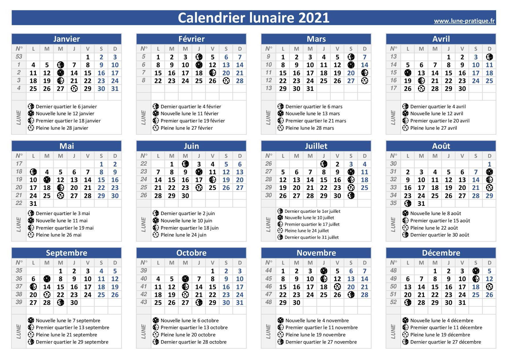 Calendrier Lunaire Jardin à Imprimer 2022 Gratuit Calendrier lunaire 2021 🌙 à consulter et imprimer en pdf