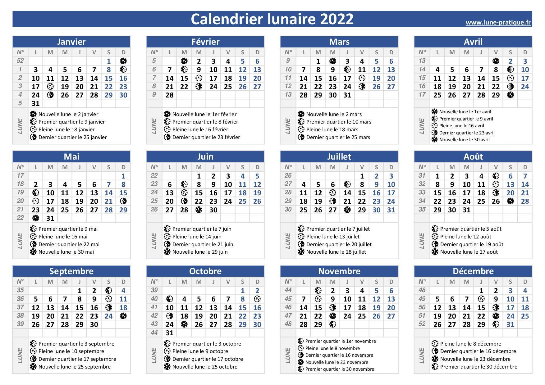 Calendrier 2022 Lunaire Calendrier lunaire 2022 🌙 à consulter et imprimer